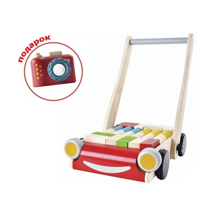 Каталка-тележка с блоками и фотоаппарат