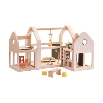 Двухсекционный кукольный дом с мебелью